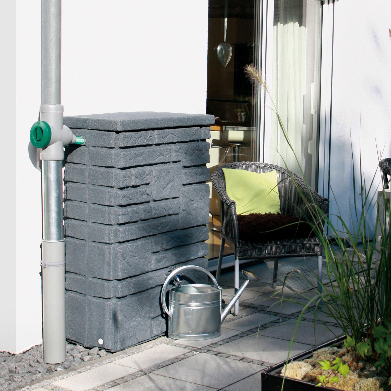 regentonne eckig wasserfass maurano 300 l black granit ebay. Black Bedroom Furniture Sets. Home Design Ideas